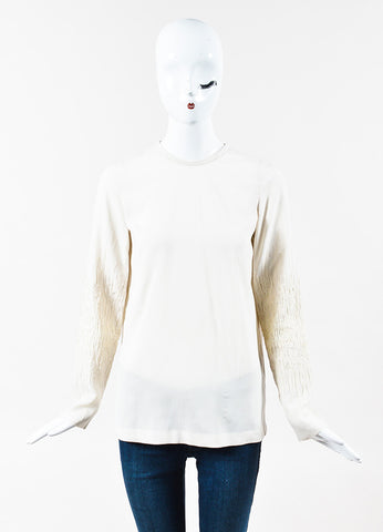 Brunello Cucinelli Cream Silk Sequined Embroidered Long Sleeve Blouse Front