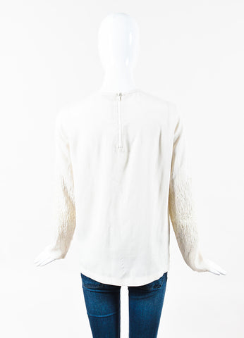 Brunello Cucinelli Cream Silk Sequined Embroidered Long Sleeve Blouse Back