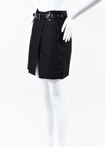 "Isabel Marant ""Handy"" Black Cotton Belted Skirt Side"