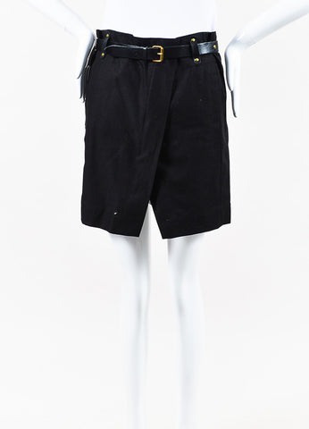 "Isabel Marant ""Handy"" Black Cotton Belted Skirt Front"