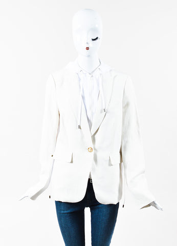 "Veronica Beard Cream White Linen Hooded ""Prairie"" Blazer Jacket Front"