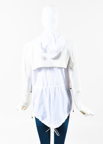 "Veronica Beard Cream White Linen Hooded ""Prairie"" Blazer Jacket Back"