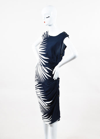 "Veronica Beard Navy Cream Silk Palm Print ""Mojorra"" Ruched Dress Side"