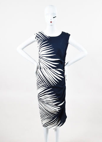 "Veronica Beard Navy Cream Silk Palm Print ""Mojorra"" Ruched Dress Front"