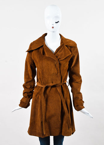 Balenciaga Cognac Brown Suede Long Belted Trench Jacket Front