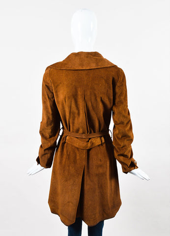 Balenciaga Cognac Brown Suede Long Belted Trench Jacket Back