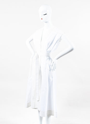 "Balenciaga ""Umbrella"" White Cotton Cap Sleeve Dress Side"