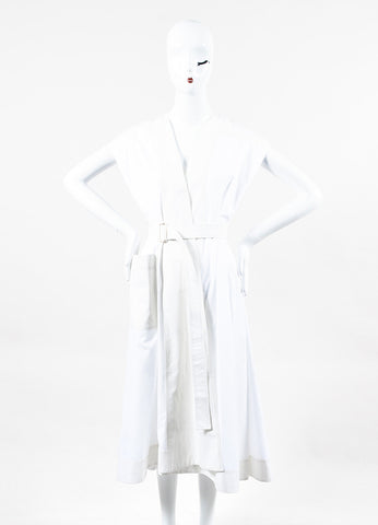 "Balenciaga ""Umbrella"" White Cotton Cap Sleeve Dress Front"