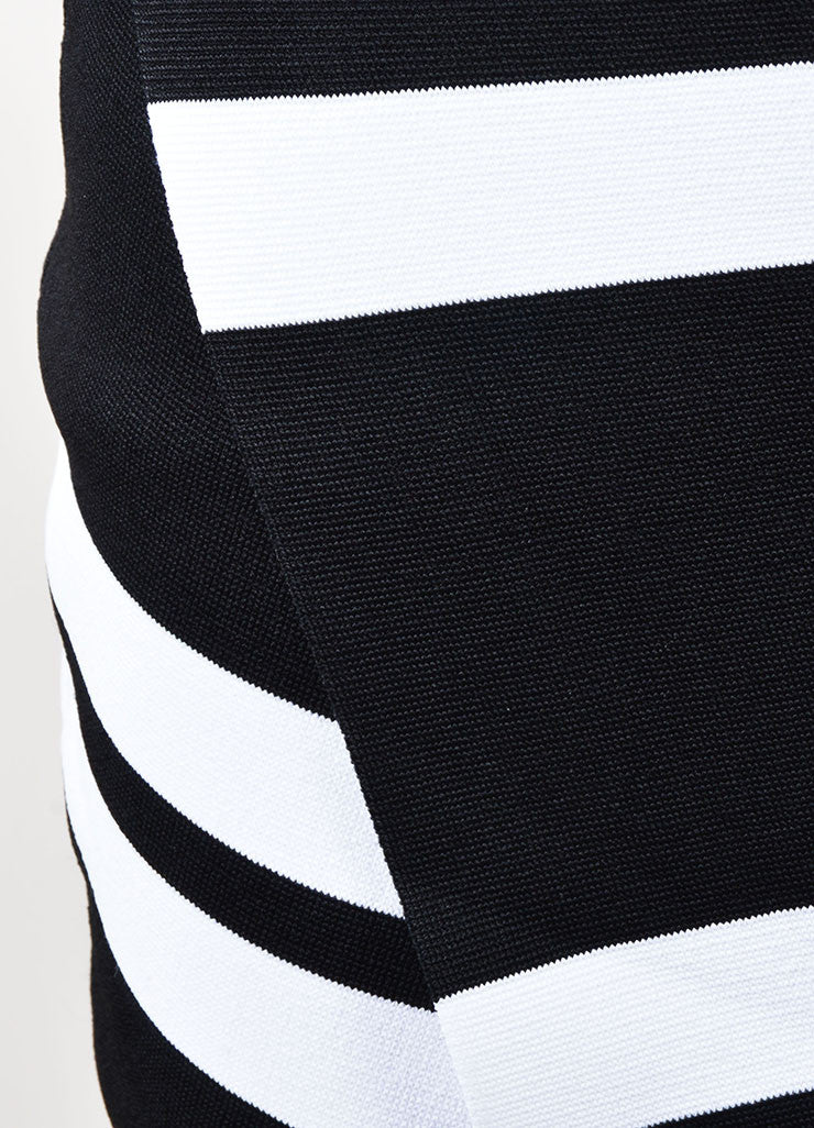ALC Black and White Stretch Knit Striped Skirt Detail