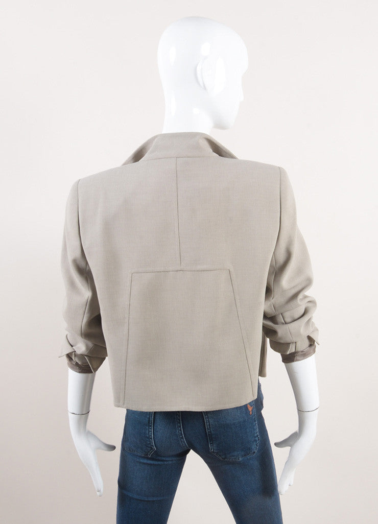 "Akris New With Tags Oatmeal Beige Open Front Short ""Spencer"" Wool Jacket Backview"