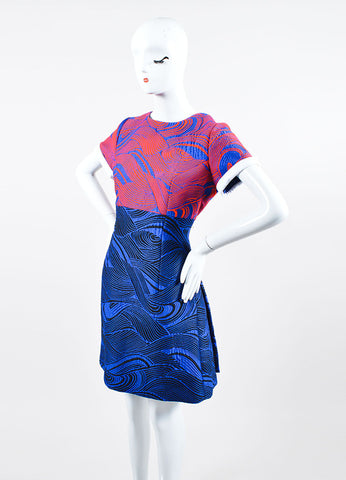 Blue, Red, and White Andrew Gn Woven Mattelasse Pleated Short Sleeve Dress Sideview