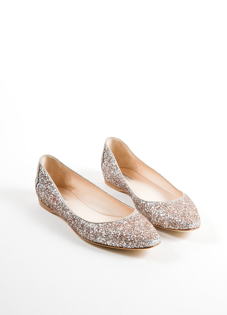 Bottega Veneta Rose Pink Glitter Woven Leather Detail Flats Frontview