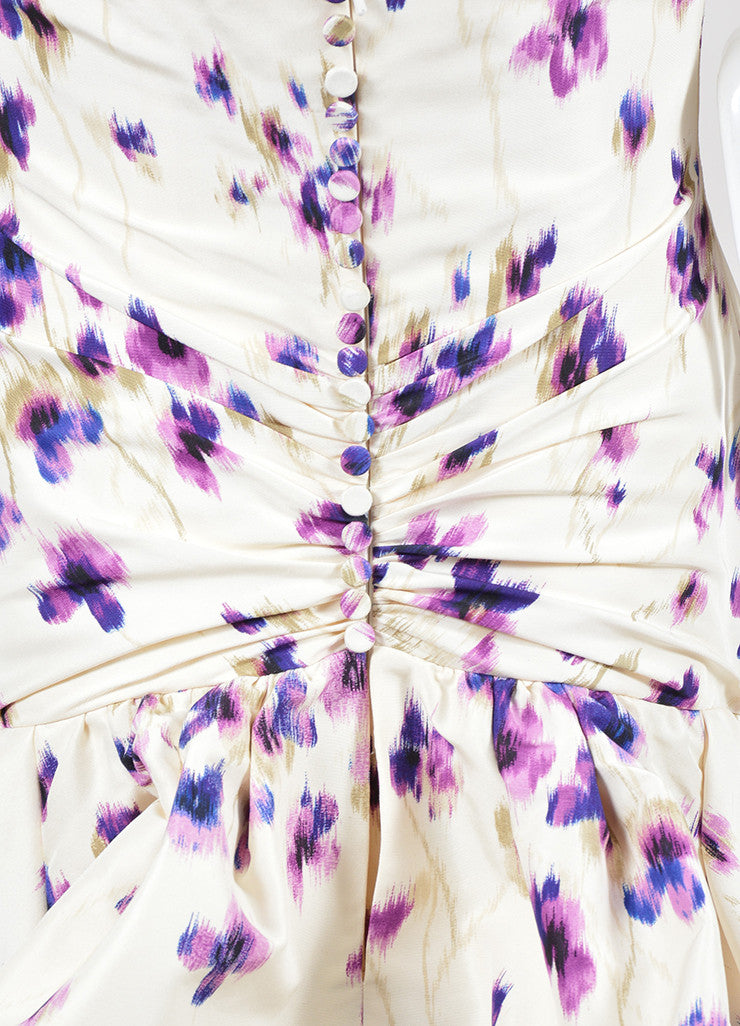 Cream and Purple Carolina Herrera Silk Floral Ruched Draped Strapless Gown Detail