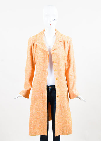 Chanel Orange Textured Metallic Notch Collar Long Button Coat Frontview