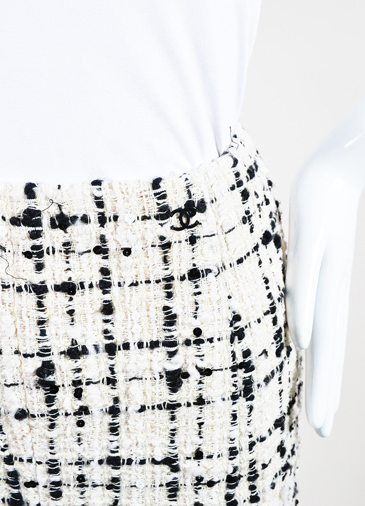 Cream and Black Chanel Wool Blend Tweed Sequin A-Line Skirt Detail
