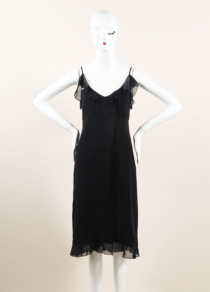 Chanel Black Silk Chiffon Ruffle Double Breasted Sleeveless Wrap Dress Frontview