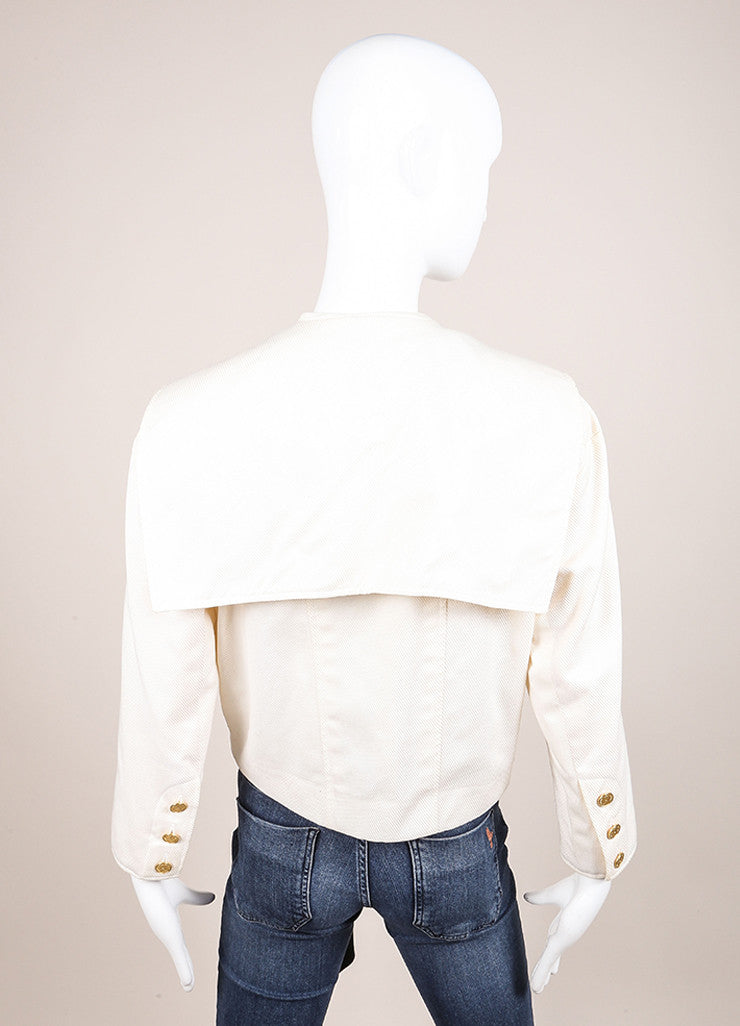 Cream Chanel Draped Collar Tie Front Cropped Jacket Back