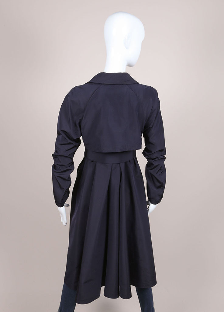 "Chanel Navy Lightweight Silk ""CC"" Buttoned and Belted Trench Coat Backview"