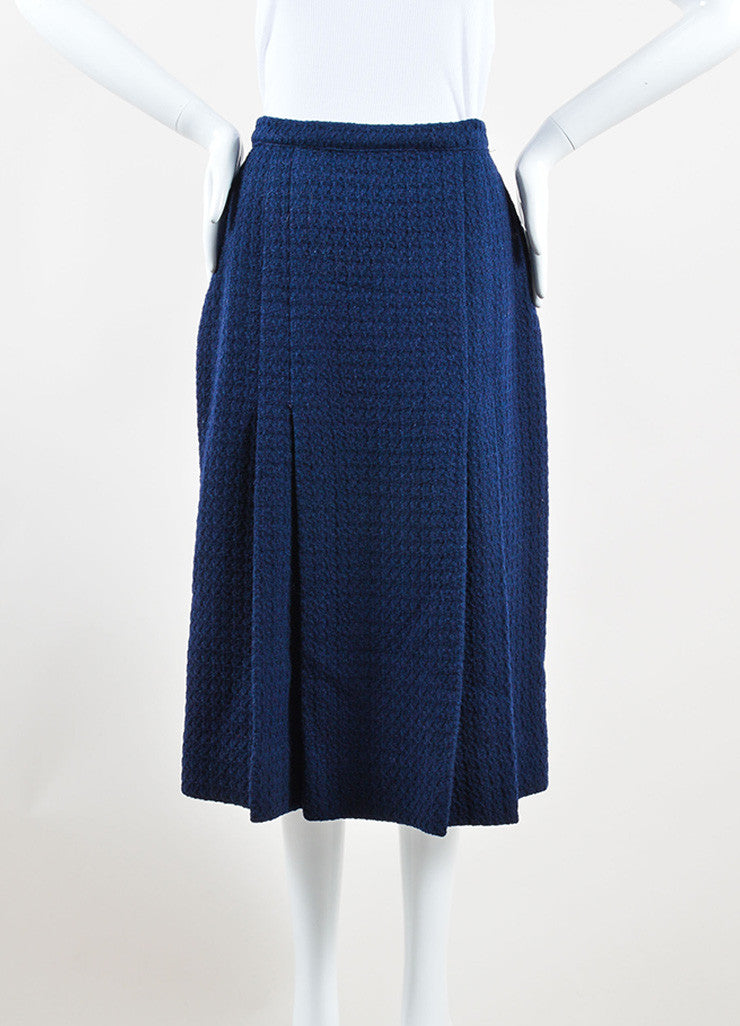 Chanel Navy Wool Tweed Midi Length Two Pleat Skirt Frontview