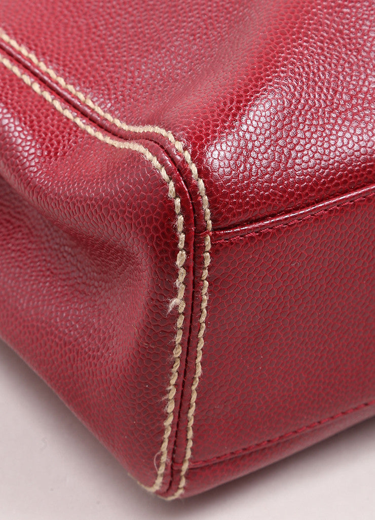 "Chanel Red Caviar Leather ""CC"" Embroidered Logo Flap Handbag Detail"