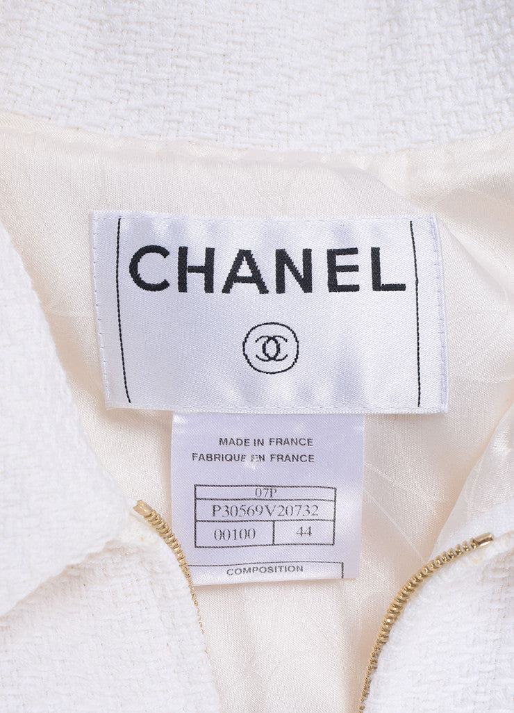 "Chanel White Knit Gold Toned ""CC"" Button Short Sleeve Pencil Skirt Suit Brand"