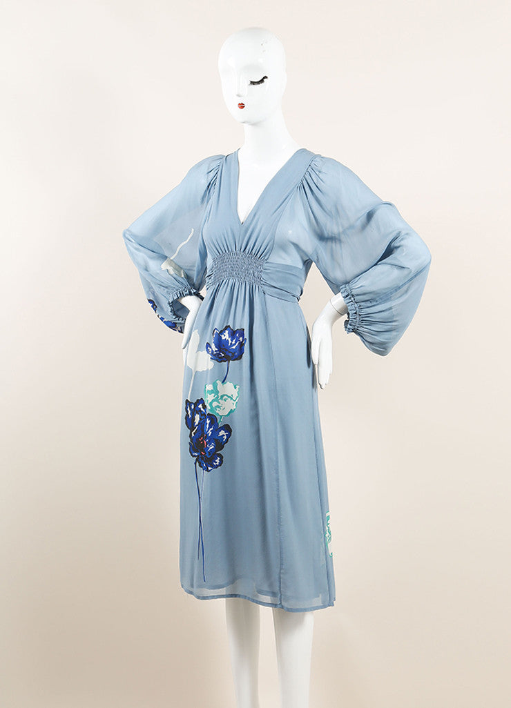 Dries Van Noten Light Blue Silk Floral Print Semi-Sheer Long Sleeve Dress Sideview