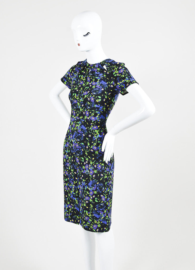 "Black, Purple, and Green Erdem Floral Print ""Camila"" Sheath Dress Sideview"