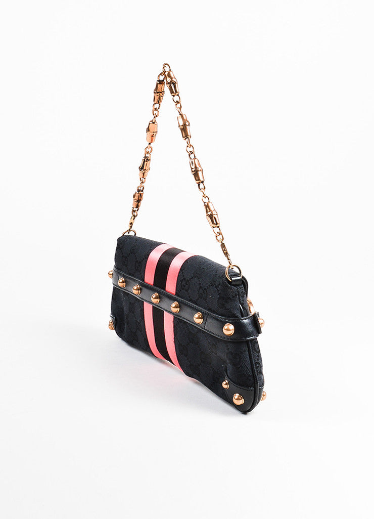 Black and Pink Gucci Canvas Horsebit Detail Convertible Clutch Bag Back