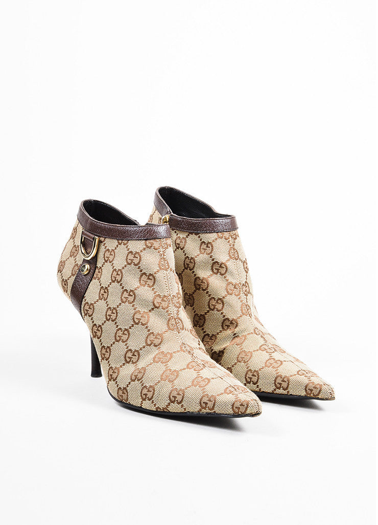 Gucci Brown Monogram Canvas Pointed Toe Booties Frontview
