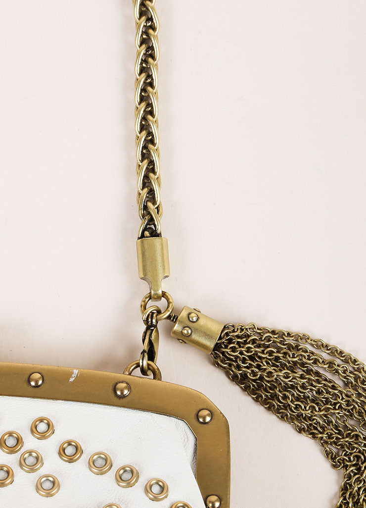 Gucci Cream and Gold Toned Hardware Embellished Wristlet Detail 3