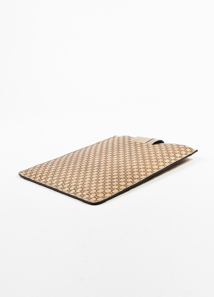 "Gucci Metallic Gold ""Guccissima"" Leather 'GG' Monogram iPad Case Sideview"