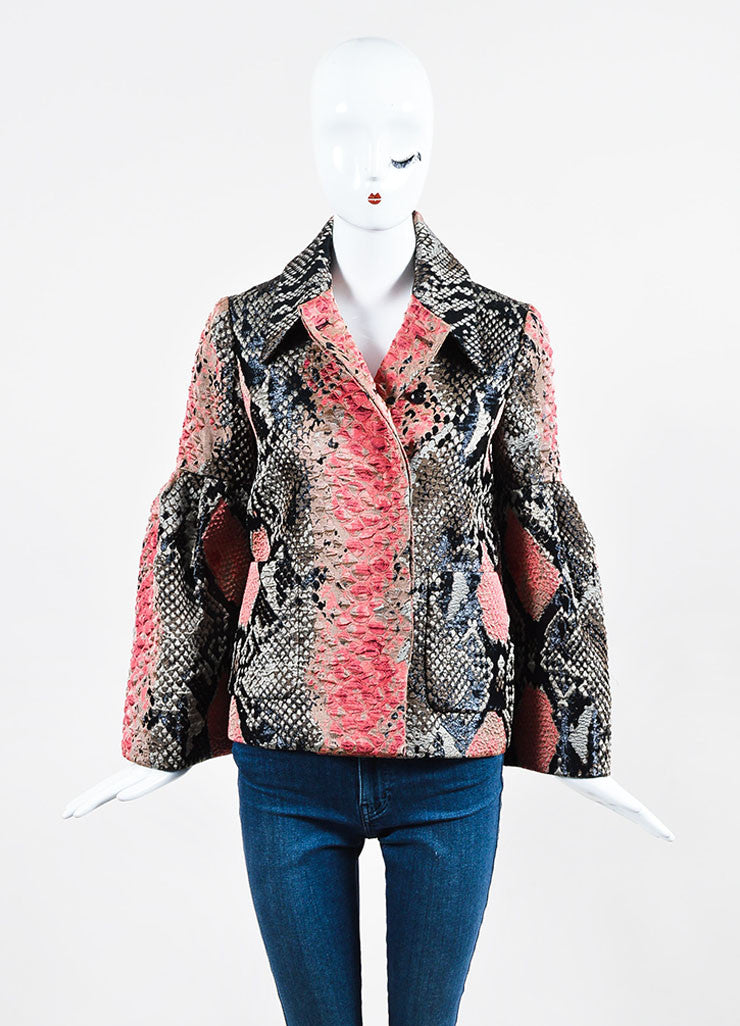 Black and Red Gucci Silk Snakeskin Jacquard Bell Sleeve Jacket Frontview 2