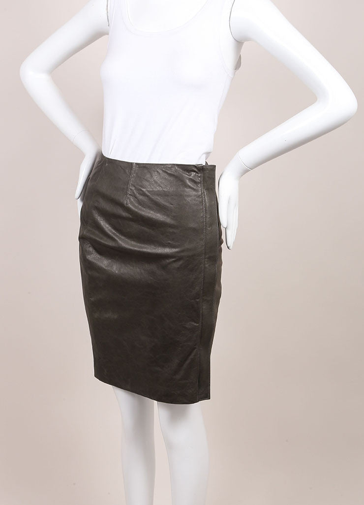 "Haider Ackermann New With Tags Grey Leather Front Zip ""Athena"" Pencil Skirt  Sideview"