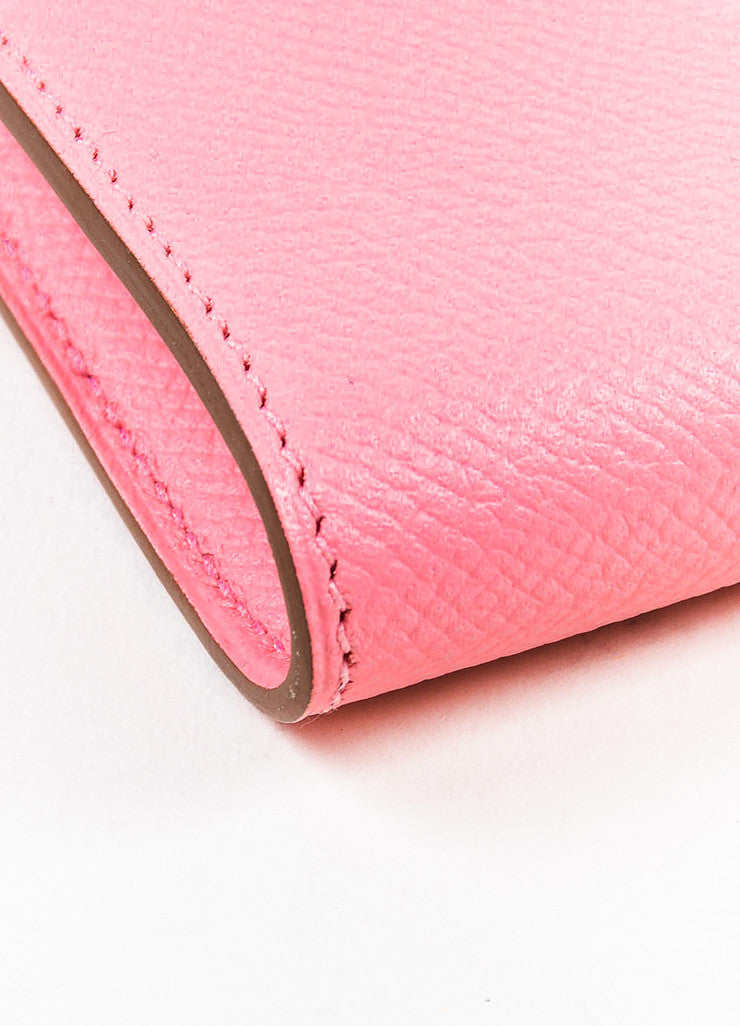 "Hermes Rose Confetti Pink Epsom Leather ""Kelly"" Long Money Holder Wallet Detail"