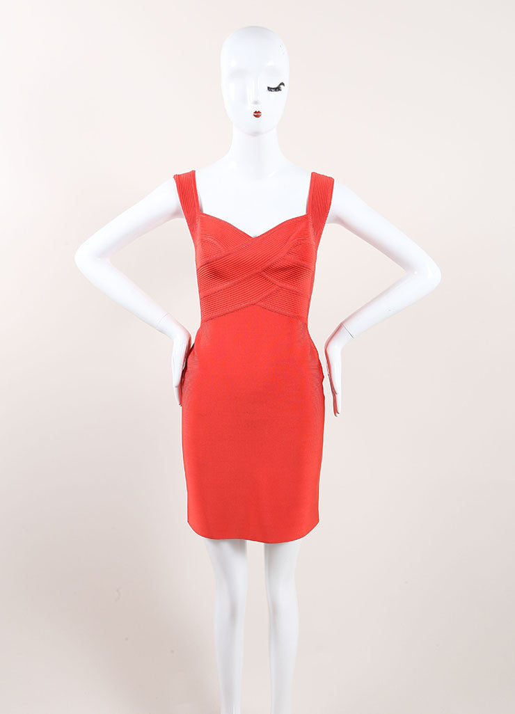 Herve Leroux New With Tags Orange Sleeveless Bodycon Dress Frontview
