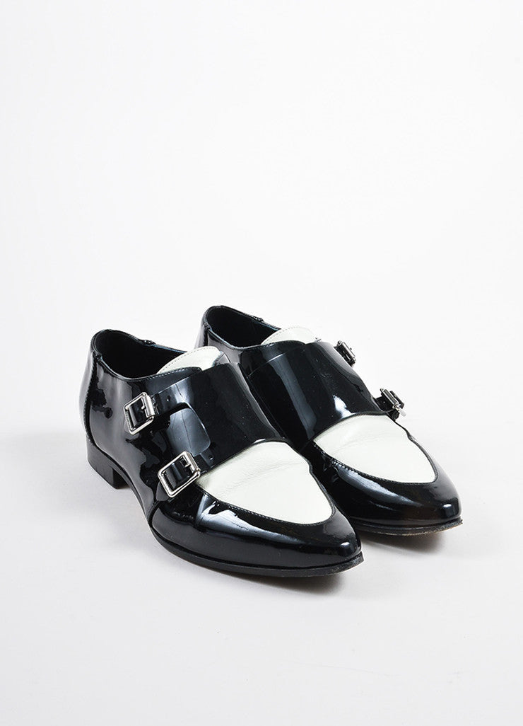 Jimmy Choo Black and Cream Patent Leather Buckled Oxfords Frontview