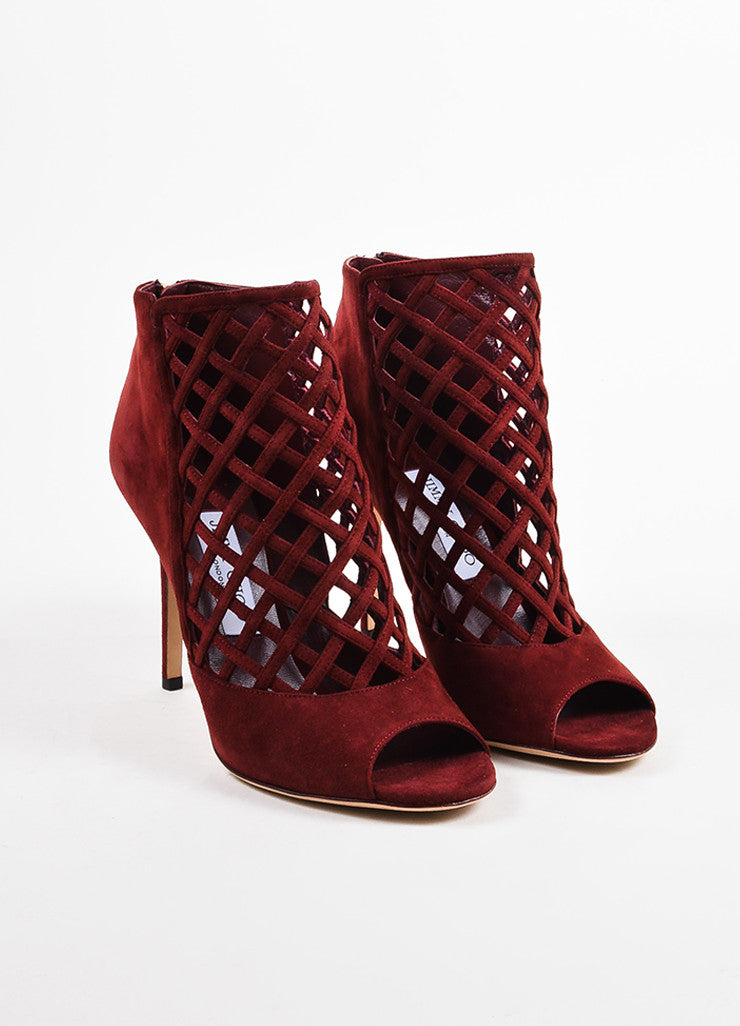 "Jimmy Choo Maroon Red Suede Cage ""Drift"" High Heeled Booties Frontview"