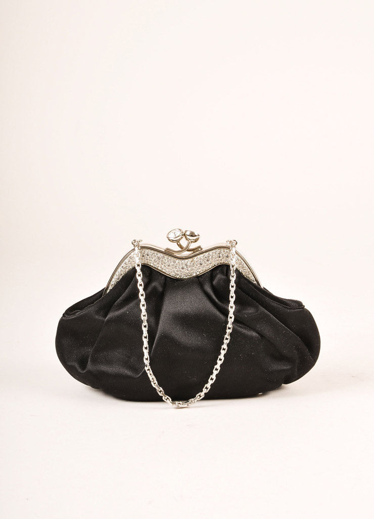 Judith Leiber Black Satin Rhinestone Crystal Embellished Small Clutch Handbag Frontview