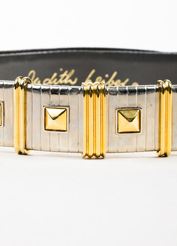 Judith Leiber Grey, Silver, and Gold Toned Lizard Stud Stripe Buckle Belt Detail