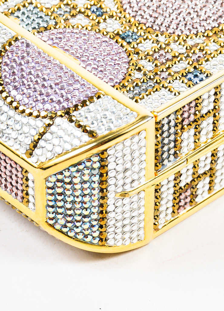 Judith Leiber Pink and Gold Toned Swarovski Crystal Geometric Patterned Minaudiere Detail