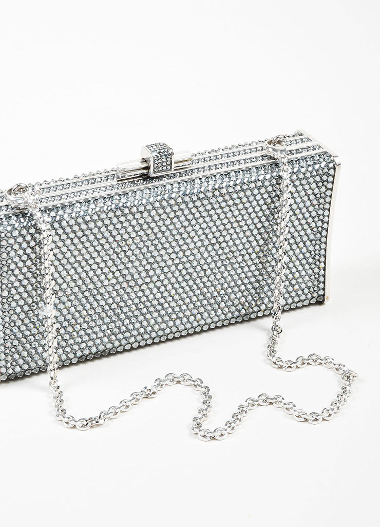 Silver Toned Judith Leiber Rhinestone Covered Rectangular Convertible Clutch Bag Detail 2