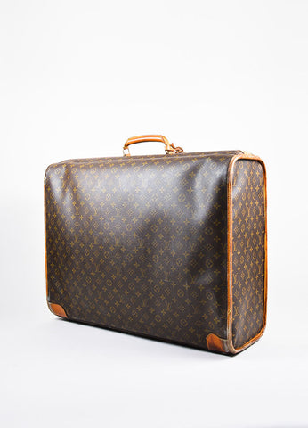 "Louis Vuitton Brown Coated Canvas Leather Monogram ""Pullman"" Travel Suitcase Bag Sideview"