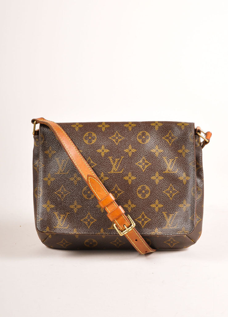 "Louis Vuitton Brown Monogram Coated Canvas ""Musette Tango"" Shoulder Bag Frontview"