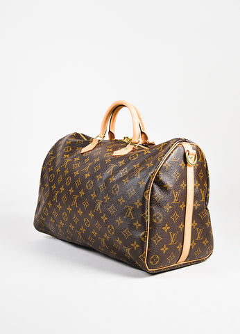 "Louis Vuitton Brown Monogram Coated Canvas ""Speedy Bandouliere 40"" Bag angle"