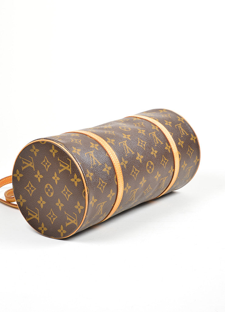 "Brown and Tan Louis Vuitton Coated Canvas and Leather Monogram ""Papillon 30"" Barrel Bag Bottom View"