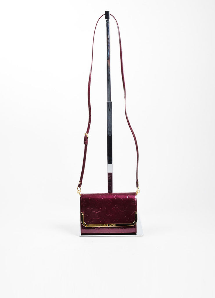"Burgundy Louis Vuitton Leather Vernis Monogram ""Rossmore PM"" Baguette Bag Frontview"