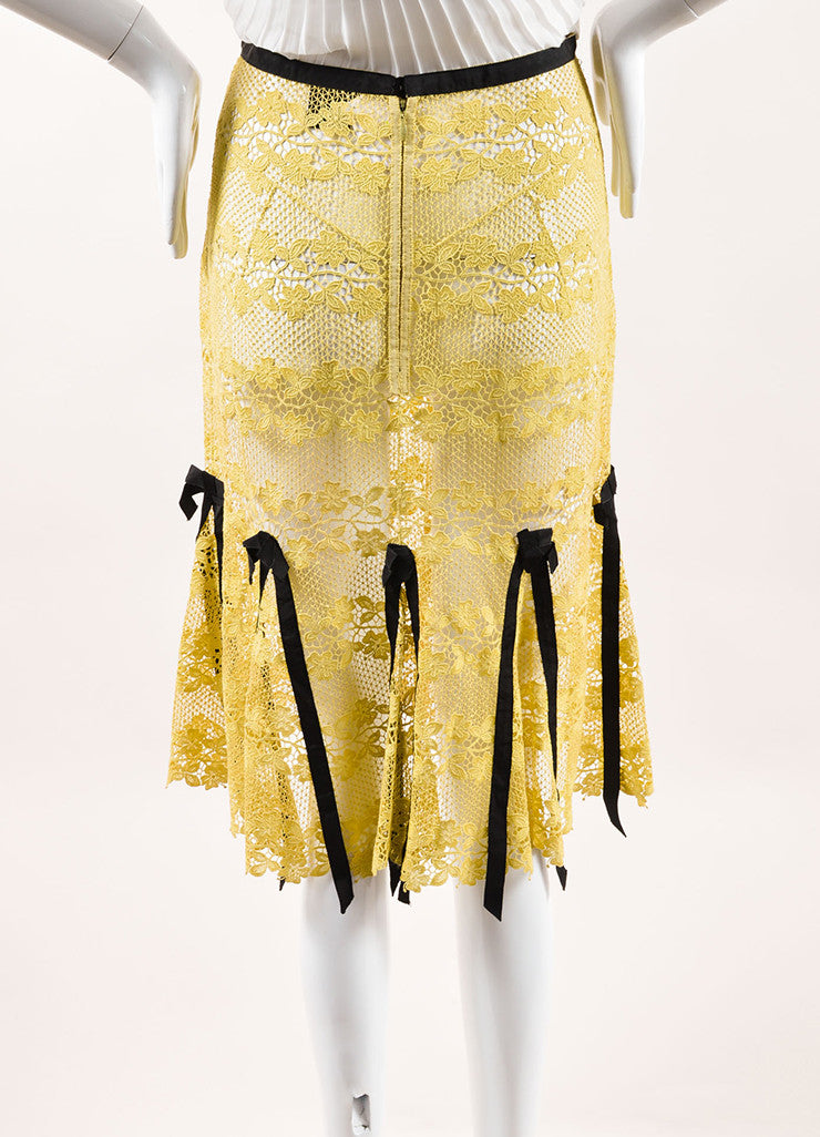 Louis Vuitton Yellow and Brown Cotton Lace Bow Ribbon Trim Skirt Backview