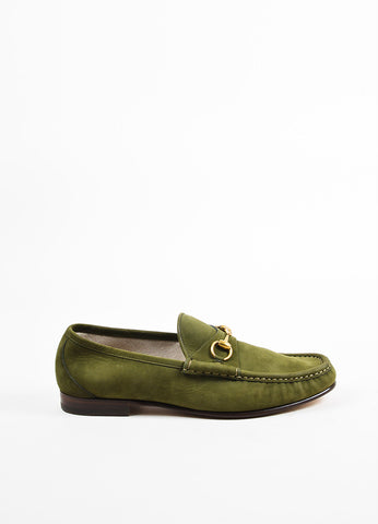 "Men's Gucci Green Suede Horsebit ""1953"" Loafers Side"