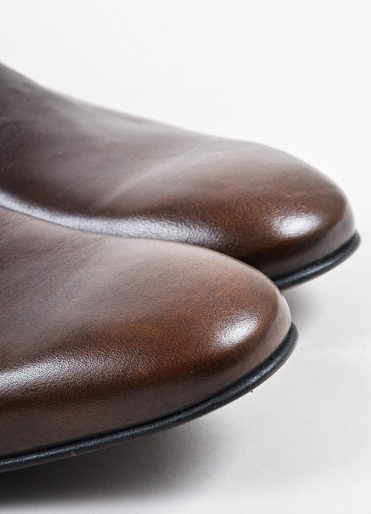 Men's Yves Saint Laurent Brown Leather Boots Detail