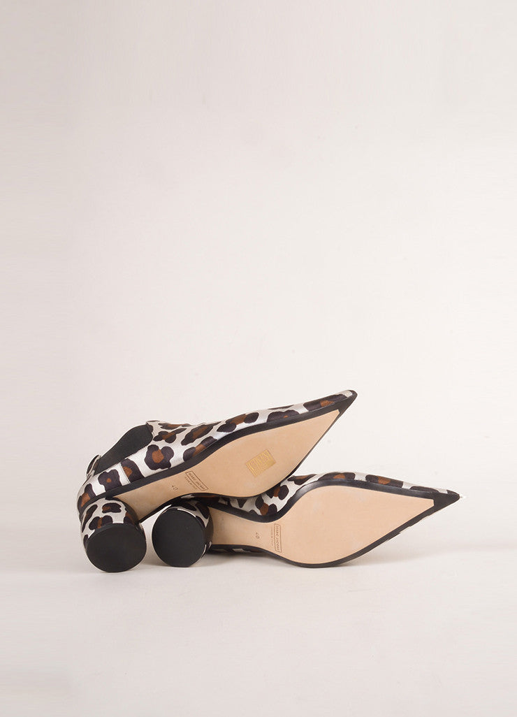 Marc Jacobs New In Box White and Brown Pointed Toe Leopard Booties Outsoles